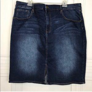 Ava & Viv Denim Blue Jean A Line Skirt Size 26W